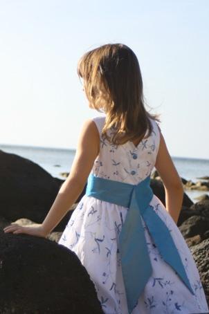 lovely white and blue flower girl dress designed by littleeglantine.com #wedding