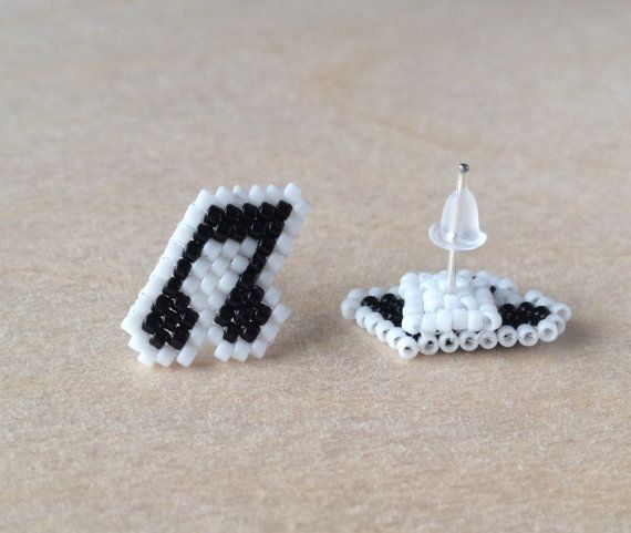 Musical Note Stud Earrings by GoodBeadDeeds on Etsy