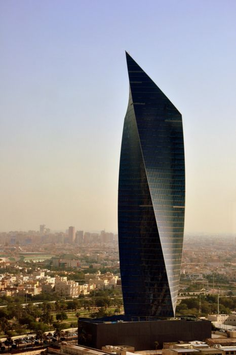 Kuwait Trade Center in Leo with Aries. Typical for Aries is the the sharply pointed form of the top where all energy from the building seems to be directed. #architecture - ☮k☮