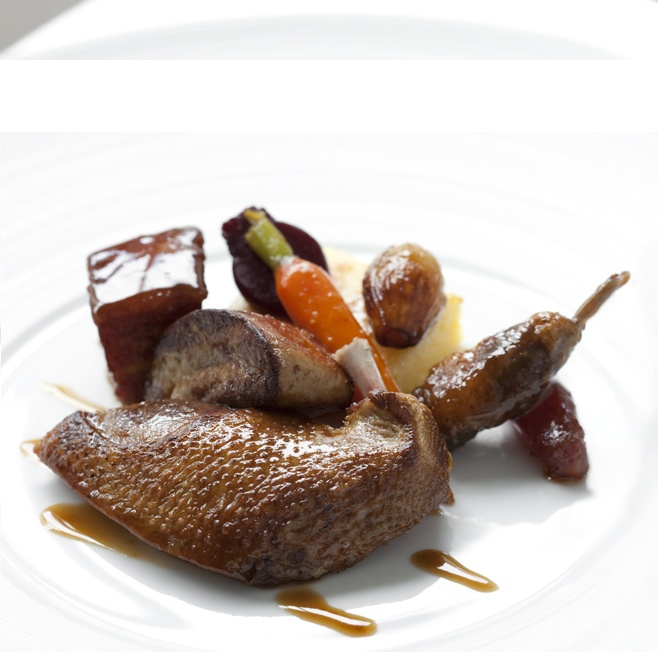 Roasted pigeon from Bresse with grilled polenta, smoked ventrèche and date sauce,  Restaurant Gordon Ramsay, London. 3 Michelin Stars