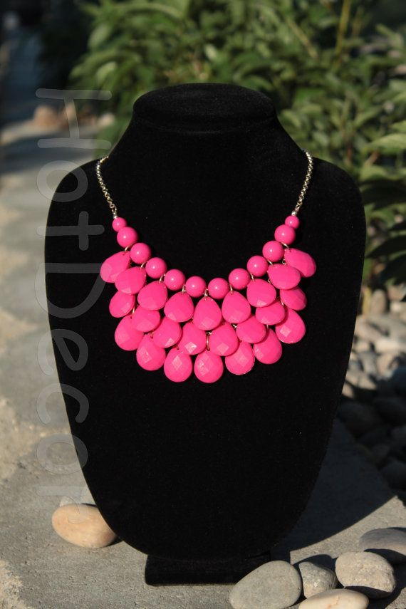 Bib Necklaces Hot pink Bib Necklaces pink jewelry by HotDecor, $12.99