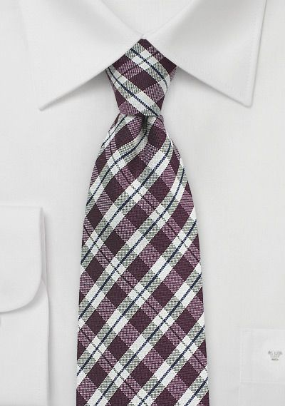 Modern Gingham Tie in Chestnut and Beige | $15 at Cheap-Neckties.com