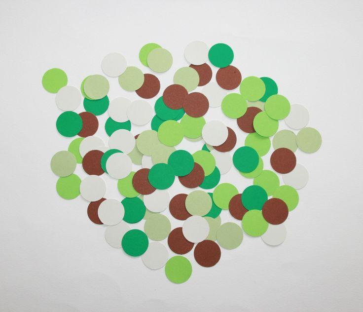 100 Confettis Ronds vert marron gris CAMOUFLAGE : Décoration d'intérieur par boutique-creative-by-c-dona