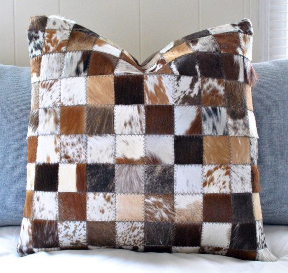 Cowhide Patchwork Pillow  17.5x17.5 Gorgeous Cow