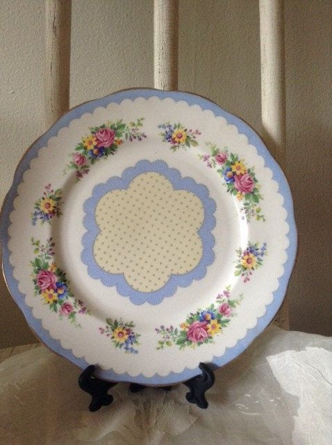 Royal Albert Prudence 'Blue Side Plates-6 & 7 inch by JanniesAttic