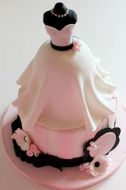 Cake Sculpted into Shape of a Dress