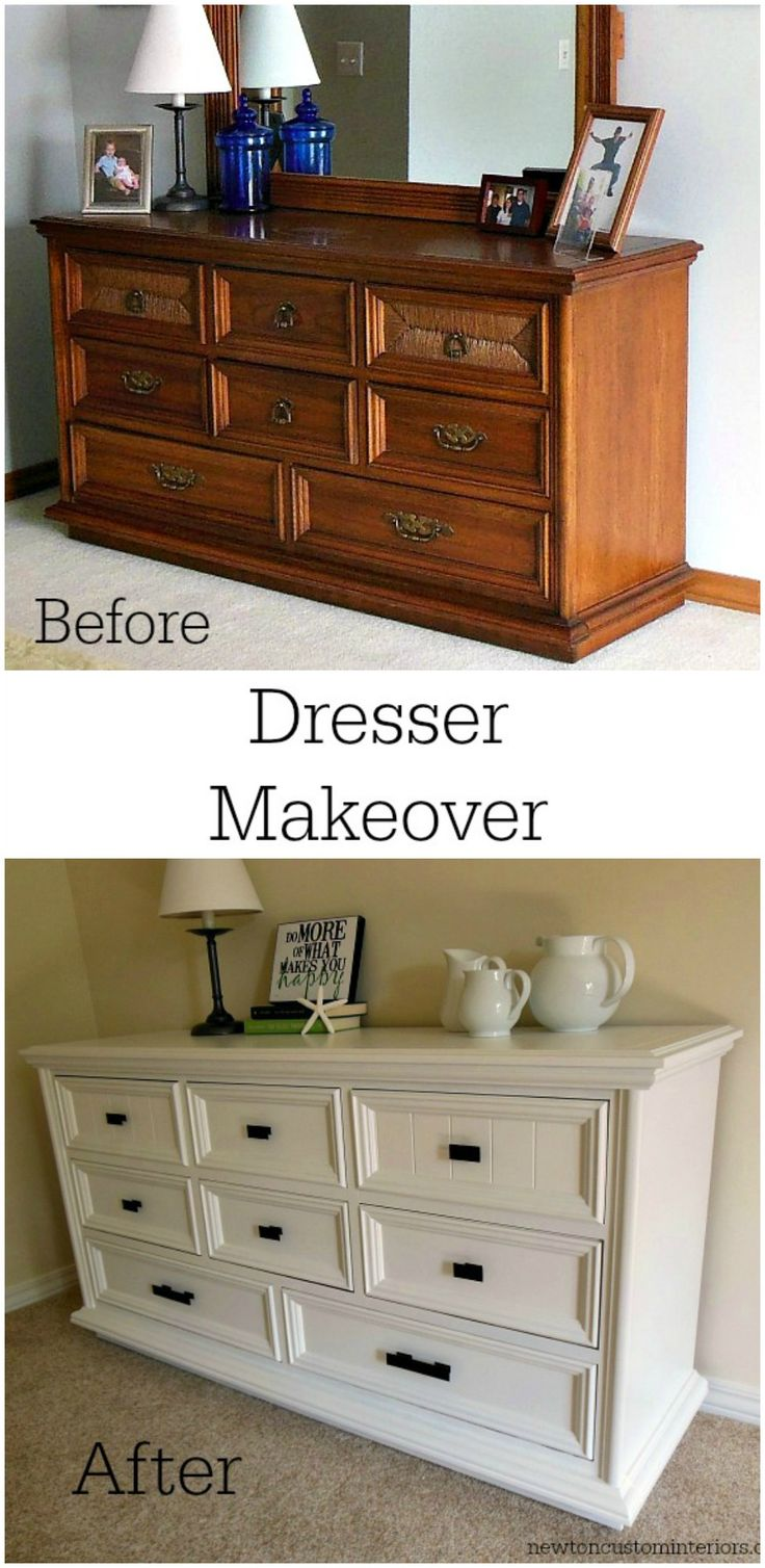 Fabulous dresser makeover from NewtonCustomInteriors.com.  This dresser went from blah to fabulous with some paint and new hardware.