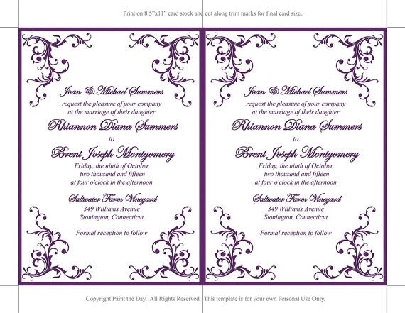 Instantly download and print this designer wedding invitation with our diy wedding invitation template! This template features a beautiful Diana design in eggplant purple. Perfect for any theme wedding! Your file is available immediately after purchase from your invoice. Matching