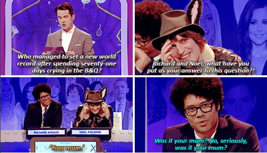 """When Noel Fielding and Richard Ayoade pretty much gave up on answering questions, and went for a classic response… 
