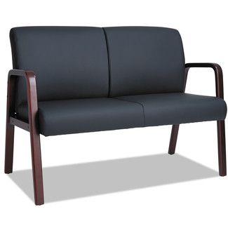 Attractive ALERA Reception Lounge Series Wood Loveseat, 44 X 26 X 33 Black/Mahogany