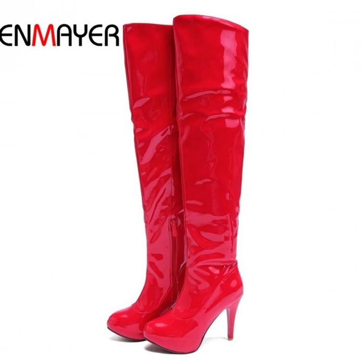 62.47$  Buy here - http://ali2he.worldwells.pw/go.php?t=32430131844 - ENMAYER Pipe boots Patent Leather Over-the-Knee Boots New Round Toe Thin Heels High Boots Winter Black White red Long Boots