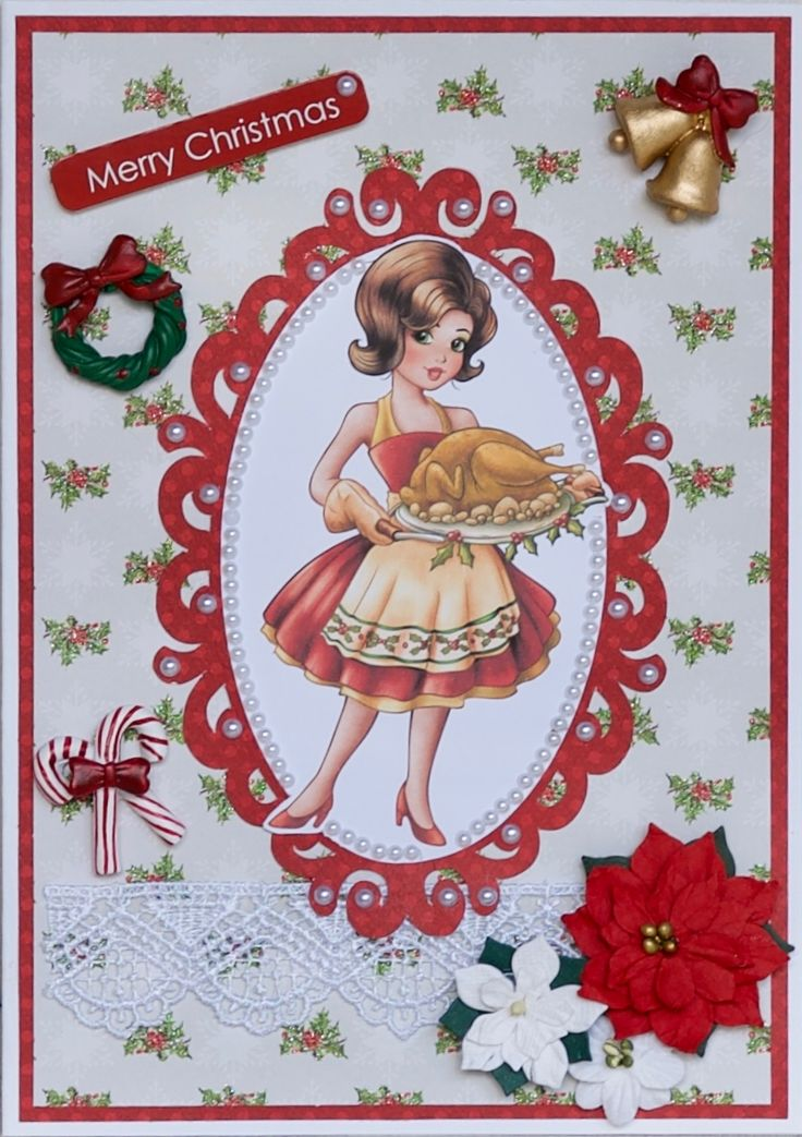 Christmas card 2016: Paper Shelter digi called The Turkey Is Ready; frame cut on the Cameo; paper from the First Edition Christmas Wishes pack; flowers are Petaloo and Little Birdie; Dovecraft message tag; embellishments are mini Christmas tree ornaments from Lincraft.
