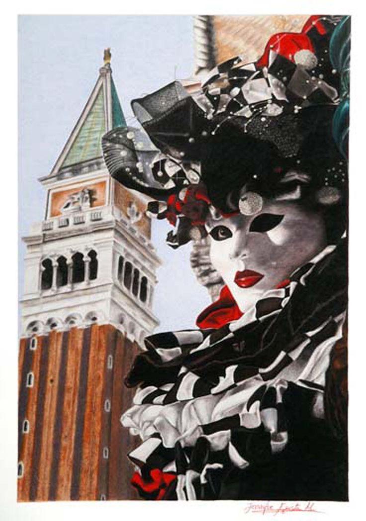 Carnevale di Venezia: Maschera con Campanile di San Marco.    #ColoredPencils #Venice #VeniceItaly #VeniceCarnival #Art #Drawing #CaranD'Ache  #Talens #VanGoghTalens #FabrianoF4