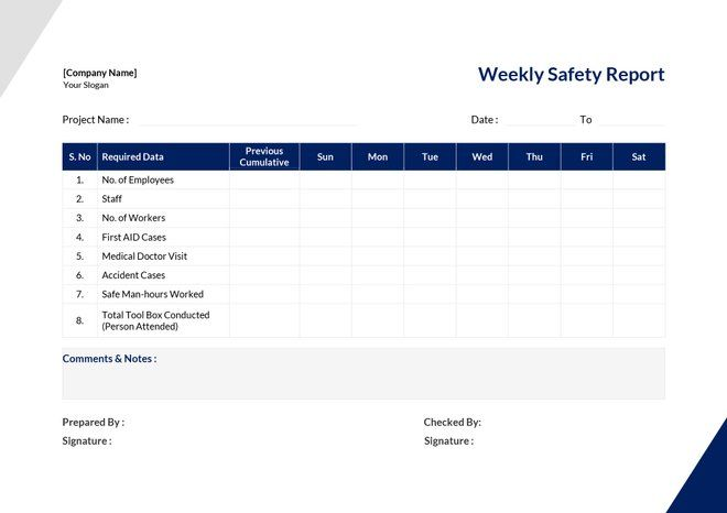 Free Weekly Safety Report Templates Report Template Doctor Visit