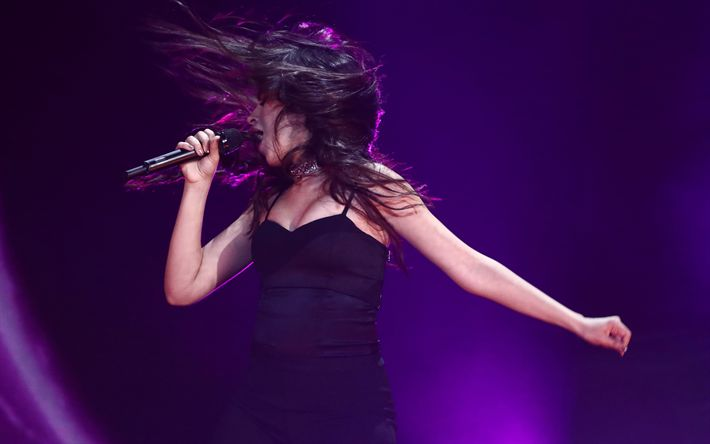 Download wallpapers 4k, Camila Cabello, concert, cuban singer, stage, beautiful latin woman