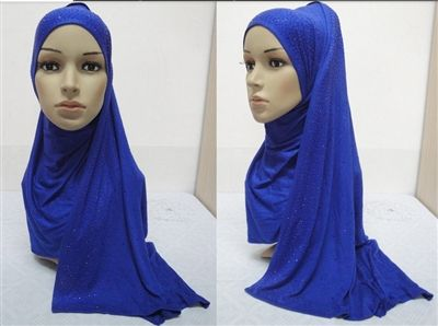 Royal Blue stretch scarf Stunning Cotton Jersey Hijab with Rhinestones