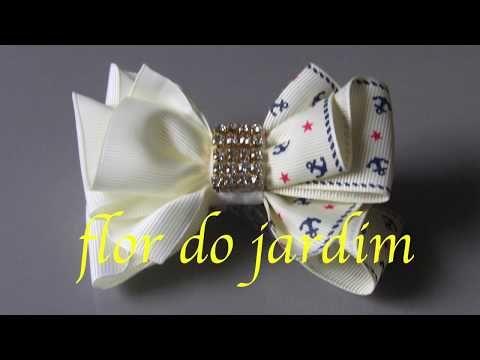 Flor celeste com fita de cetim e meia perolas - Flower with satin ribbon - YouTube