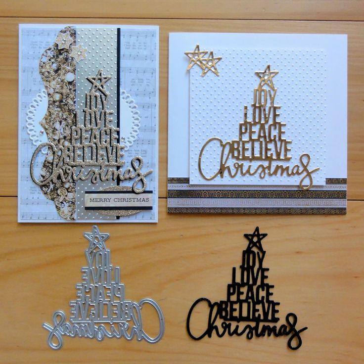 KAISERCRAFT CHRISTMAS WORD TREE JOY LOVE PEACE BELIEVE CUTTING DIE