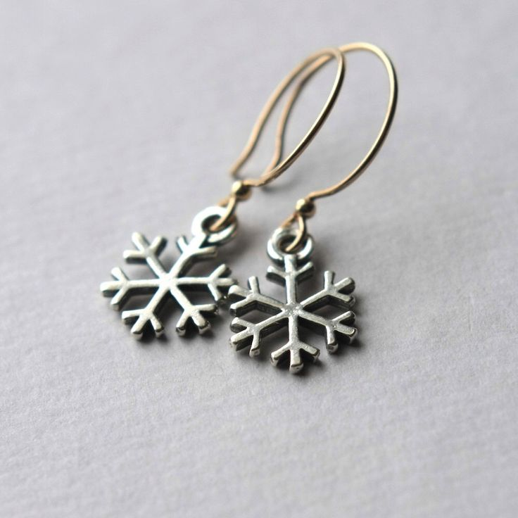 Silver Snowflake Earrings, Winter Wedding, Holiday Jewelry, Small Drop Earrings, Mixed Metal Jewelry, Snowflake Jewelry, Winter Jewelry by juliegarland on Etsy https://www.etsy.com/listing/168707562/silver-snowflake-earrings-winter-wedding