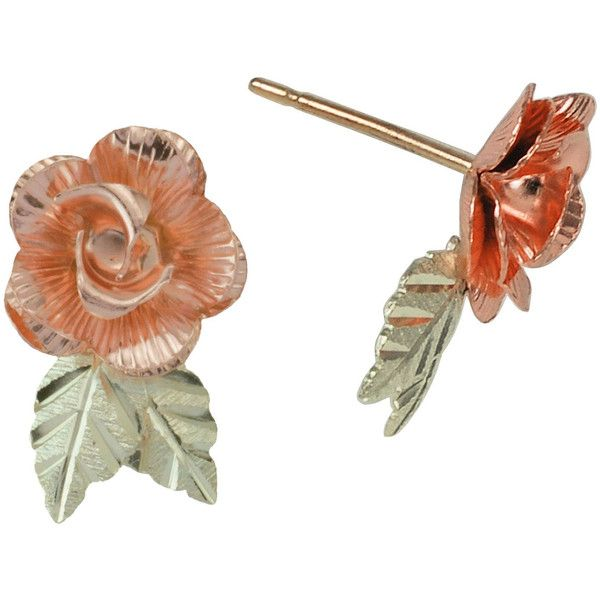 Black Hills Gold Jewelry by Coleman Dakota Rose Earrings ($169) ❤ liked on Polyvore featuring jewelry, earrings, accessories, floral earrings, gold earrings, gold jewelry, gold leaves earrings and earring jewelry