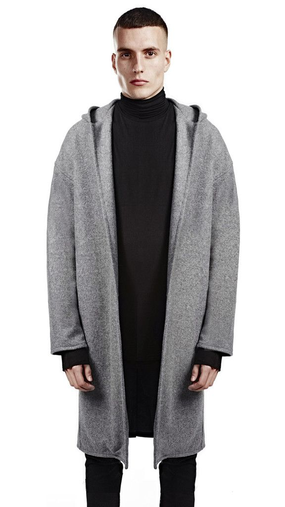 hooded overcoat - grey by represent