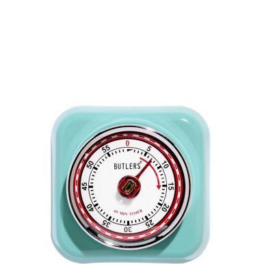 Beim Design drehen Sie die Uhr zurück, aber für das richtige Timing beim Kochen und Backen drehen Sie beim Fifties Forever-Kurzzeitmesser die Uhr vor. Einfach am chromfarbenen Metallring die gewünschte Minutenzahl (max. 59 Minuten) einstellen - und auf das Klingeln warten. Derweil tickt der Kurzzeitmesser vor sich hin und kann dank Magnet auf der Rückseite gut sichtbar am Kühlschrank befestigt werden. In weiteren Farben erhältlich.