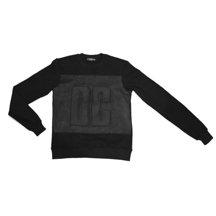 DEADLY COMPANIONS DC Sweat // Featuring a PU embossed detail at front. Cotton ribbing at neckline, waist and cuffs. 100% Cotton Fleece & PU. // Find it at cliquearcade.com.au