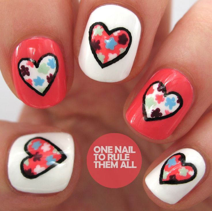nail art topic valentine