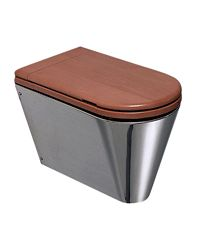 stainless steel toilet with wooden seat and cover, modern toilets