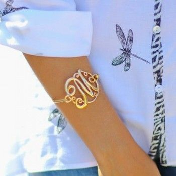 Clic Monogram Initial Bracelets Silver Gold Options Available Jewelry Pinterest Bracelet Initialonogram