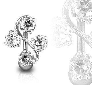 """Surgical Steel Clear Elegant Four Gem Cz Vine Reverse Classic Belly Button Naval Ring 14 Gauge B210 Blue Palm Jewelry. $9.99. 14 gauge. Quality Body Jewelry. 3/8"""" barbell length. 316L surgical steel. Sexy & Comfortable"""