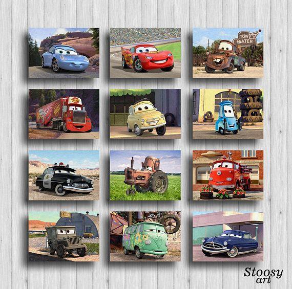 Disney Cars Print Set Of 12 Disney Cars Wall Art Lightning Etsy Disney Cars Wall Art Car Wall Art Disney Cars