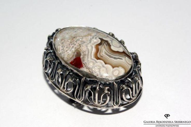 Wyjątkowy srebrny pierścionek z agatem koronkowym. Unikatowy minerał -unikatowy pierścionek.