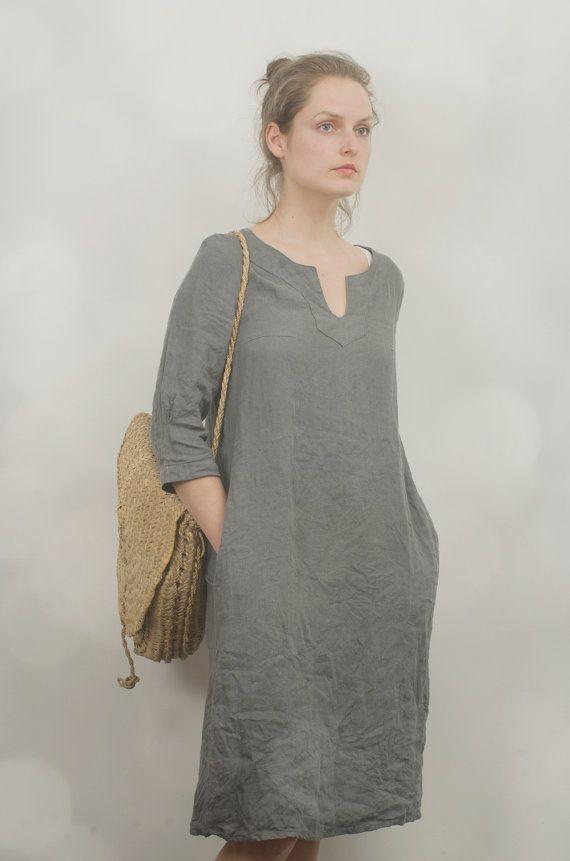 Grey Linen Tunic Dress by KnockKnockLinen on Etsy