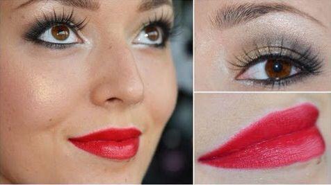 Rode lippen bij een prachtige ooglook