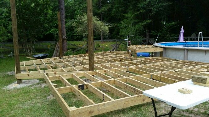 Hardest Part Of The Deck Was Rhe Framing 16 Inch Studs And