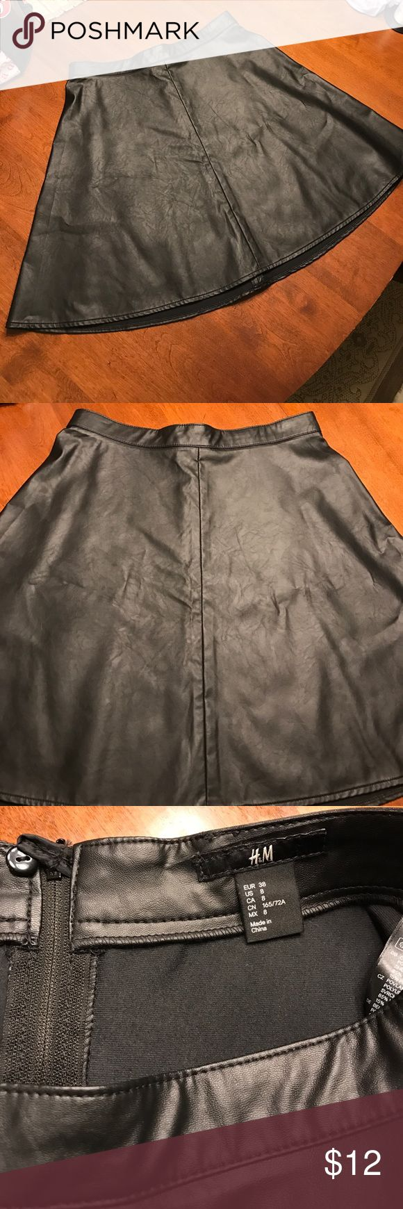Faux Leather Skater Skirt Faux leather skater skirt. Size 8. From H&M. Never worn. Flares out on the bottom. High waisted. Zipper in back. H&M Skirts Mini