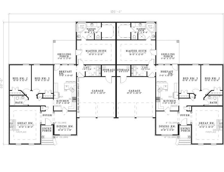 Best 25 duplex house plans ideas on pinterest duplex for Multi family housing plans
