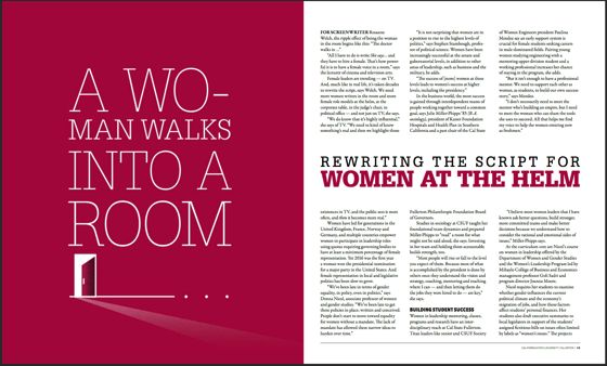 """Rosanne quoted in Titan: The Magazine of California State University, Fullerton, Winter/Spring 2017  """"FOR SCREENWRITER Rosanne Welch, the ripple effect of being the woman in the room begins like this: """"The doctor walks in …"""" All I have to do is write She says… and they have to hire a female. That's how power-ful it is to have a female voice in a room,"""" says the lecturer of cinema and television arts."""
