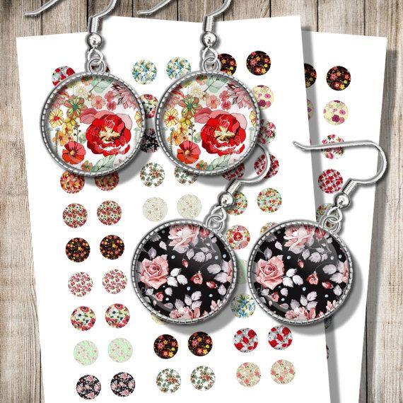 Vintage Floral Pattern Earrings Images Printable Collage