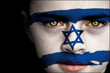 Israel flag face