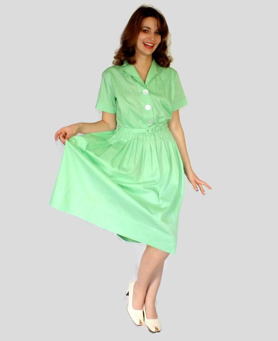 1950s Mint Dress. Twee dress. Pastel Shirtdress. by ChickClassique