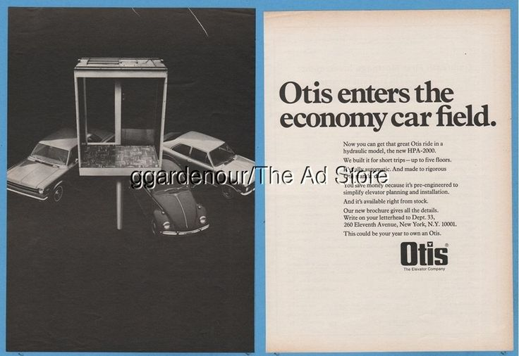 1969 Otis Elevator Company HPA-2000 Volkswagen Beetle VW bug photo print Ad