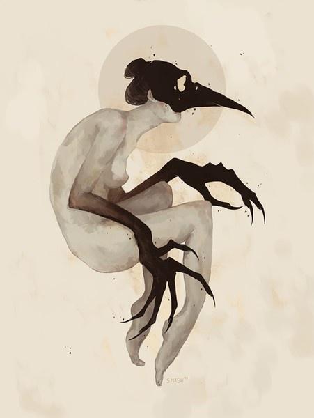 crow woman  #art #artwork #illustration