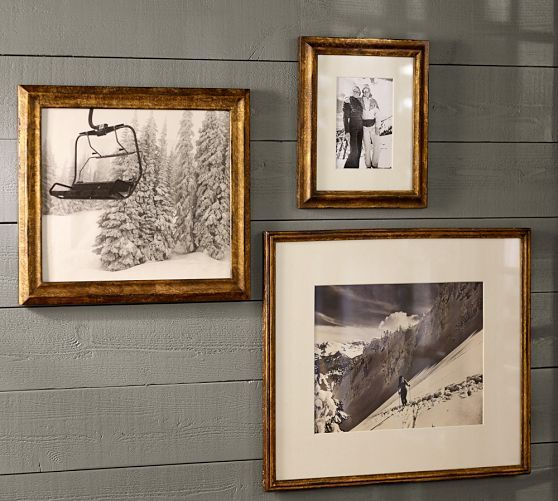 Antique Gold Frames with Black and White Photography for my ski adventures.