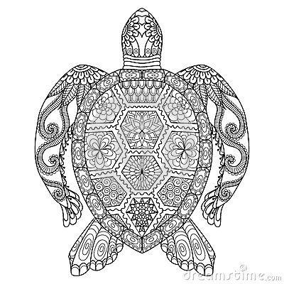 Tartaruga dello zentangle del disegno per la pagina di coloritura, l effetto di progettazione della camicia, il logo, il tatuaggi