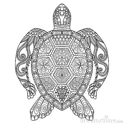 Drawing zentangle turtle for coloring