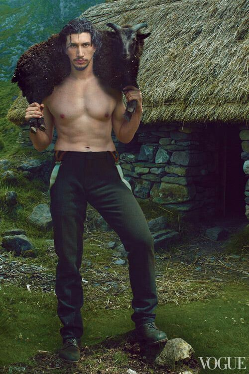 Adam Driver in Vogue. Shirtless, with a goat over his shoulders, outside S thatched cottage. IDK what is going on but I like it.