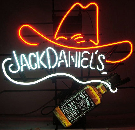 """Jack Daniels Bottle and Hat Neon Beer Sign Dimensions: 34"""" x 30"""" x 6"""" $424.00"""