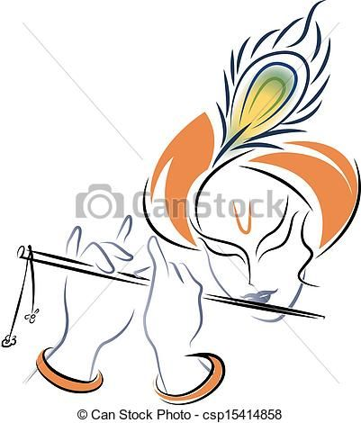 Vector - Sri Krishna playing Flute - stock illustration, royalty free illustrations, stock clip art icon, stock clipart icons, logo, line art, EPS picture, pictures, graphic, graphics, drawing, drawings, vector image, artwork, EPS vector art